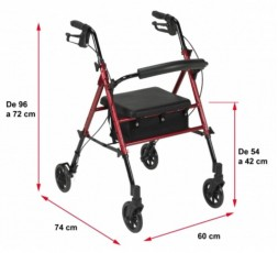 ROLATOR DE ALUMINIO CON ASIENTO REGULABLE HI-LOW